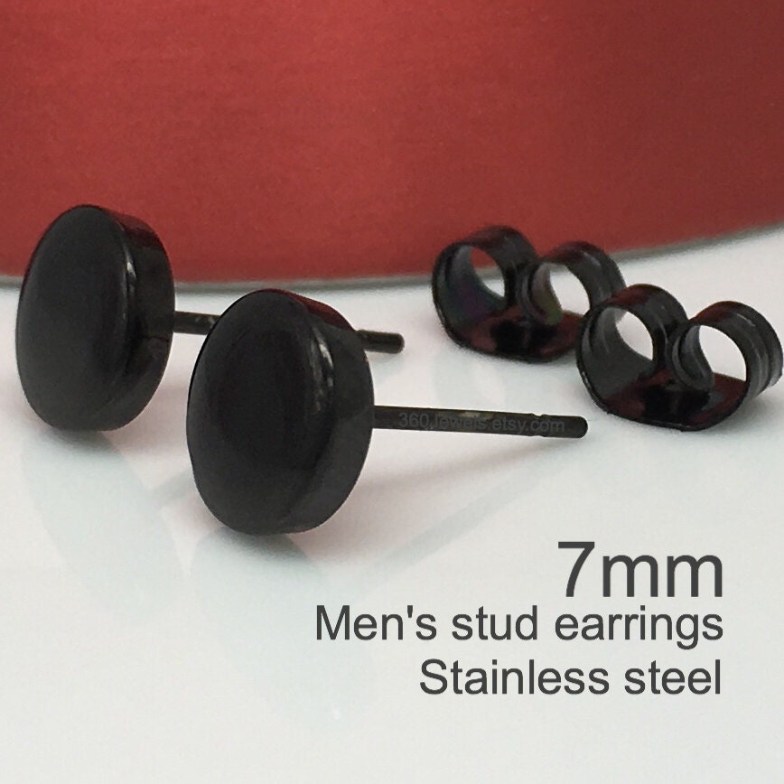 Black studs black earrings mens stud earrings round flat for Men s jewelry earrings