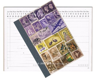 Boho Travel Journal, Upcycled Notebook, Pocket Planner Diary | Travel Gift, Lavender Brown Landscape Collage Art | Student Graduation Gift