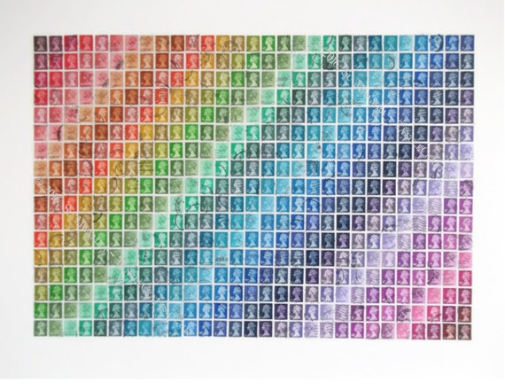 """Recycled Rainbow Postage Stamp Wall Art 