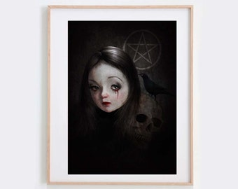 Gothic Art Print - Wall decor - Gothic Portrait -  Occultist