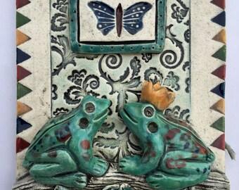 Art Tile. Home Decor, Ceramic Tile, Wall Art, Ceramic Wall Art, Two Frogs