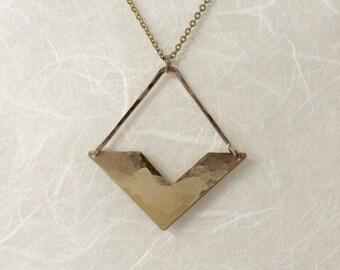"""Modern geometric brass pendant necklace """"v-necklace"""""""