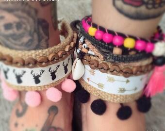 Boho style pompom cuff bracelet