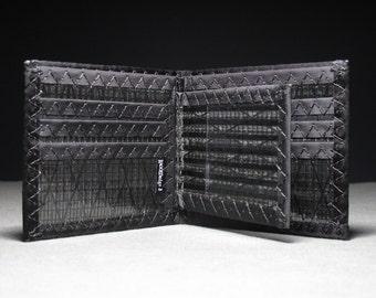 Carbon Fiber MEGAfold Bifold Double ID Wallet - Large Mens Bifold Wallet - Black - Vegan Sailcloth Rugged - Water Sports Wallets