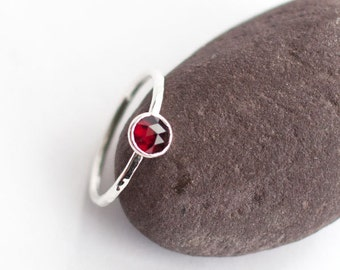 Plumeria - Handmade Rose Cut Red Garnet and Hammered Sterling Silver Ring Stacking