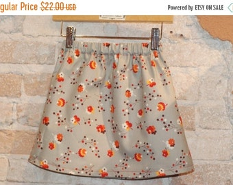 SALE Modern A-line Skirt - Grey Vintage Floral - toddler kids girls clothing - fall fashion - size 4 4T - ready to ship