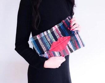 Boho Chic Envelope Clutch. Fun Small Red Lippy Kilimbag. Colorful Kourelou Purse. Bohemian Clutch. Gift for Her. Kourelou Bag. Festival Wear