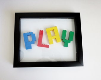 Framed Lego Sign Letters  - Kids Room Decor  - Lego Bricks Letter Sign - Customizable Sign made with Lego Letters