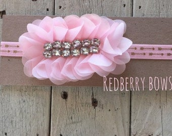 PINK OVAL RHINESTONE Headband on Gold Arrow  Elastic-free shipping with the purchase of another item