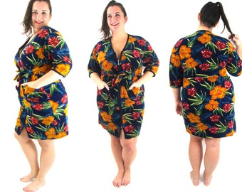 70s floral robe housecoat loungewear S M L  XL tropical