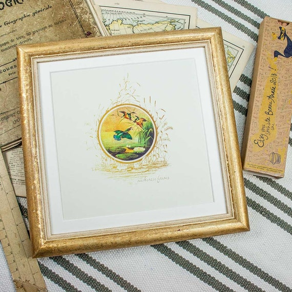 8x8 or 9x9 inch gold square frame simple cottage style for Bungalow style picture frames