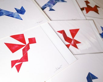 Original handmade Tangram puzzle print, 250 x 250mm, by Alex Hahn. Available in several different animal shapes, with FREE mini-print!