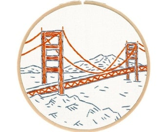 SAN FRANCISCO'S GOLDEN Gate Bridge embroidery kit - west coast diy, travel souvenir, architecture embroidery, hand embroidery by StudioMME