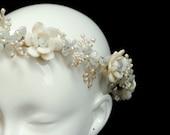 Jewelled Pearl and Crystal Flower Garland / Floral Bridal Crown - Blanca