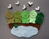 Five Green Speckled Frogs Felt Set