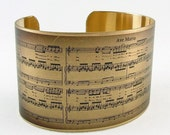 Sheet Music Art Jewelry - Schubert's Ave Maria Musical Handmade Brass Cuff Bracelet - Unique Romantic Gifts For Wife