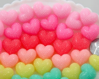 20mm Rhinestone Acrylic or Resin Flatback Cabochons Encrusted Jelly Pastel 3-D Heart - Pink, Rose, Peach, Mint Green, Yellow - 8 pc set