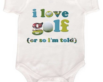 Golf Baby Bodysuit Newborn Rompers to Kids Tees Golf Rompers I love Golf Baby Bodysuit