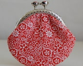 Red Floral Coin Purse Change Pouch with Metal Kiss Lock Clasp Frame - READY TO SHIP