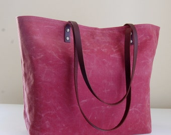 Nautical Red Waxed Canvas Medium Tote Bag with Leather Straps - Ready to Ship