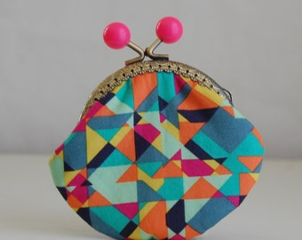 Multi Geo Coin Purse Change Pouch with Metal Kiss Lock Clasp Frame - READY TO SHIP