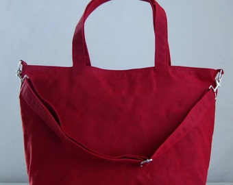 Red Waxed Canvas Big Tote Bag with Cross Body Detachable Strap - Ready to Ship