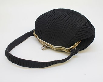 40's Vintage Black Bag / Small Pleated Fabric  Purse / Evening Bag / Gold Art Deco Clip