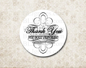 Custom Thank You Stickers Stickers French Crown Personalized Business SP014