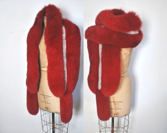 HUGE Fur Stole Cape / Red Genuine Fox / Deco Shawl