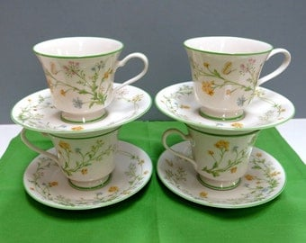 Noritake China Cups & Saucers 4 Sets Reverie Pattern Circa 1975 Vintage Table Decor