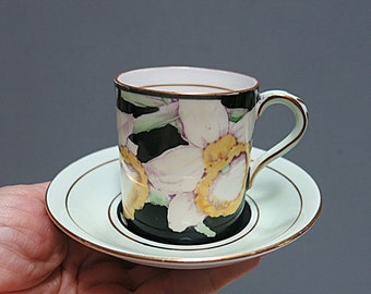 Paragon Demitasse Cup Saucer Daffodil English Bone China Vintage