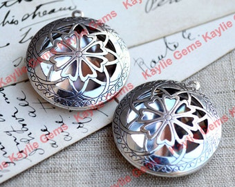 Filigree OX Antique Silver Round Loket Pendent for Scent or Solid Perfume Jewelry Desings - 2pcs