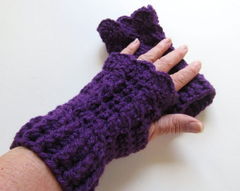 Ready To Ship - Crochet Plum Fingerless Gloves - Purple Crocheted Fingerless Mitts - Plum Crochet Arm Warmers - Cabled Fingerless Mitts