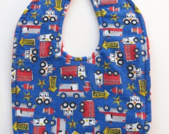 Ready To Ship - Reversible Rescue Vehicles Flannel Baby Bib - Flannel Fire Engines Toddler Bib - Fire Engines Baby Bib - Ambulances Bib #20