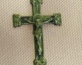 Vintage Gold Tone Crucifix -  Rosary Crucifix - Antique Cross