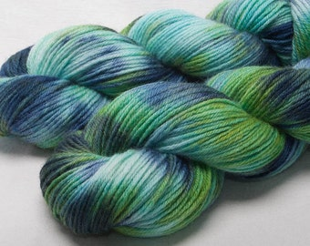 Hand dyed yarn, Bluefaced Leicester, BFL, Hand painted, DK yarn, 100g skein, Colour; Moontide