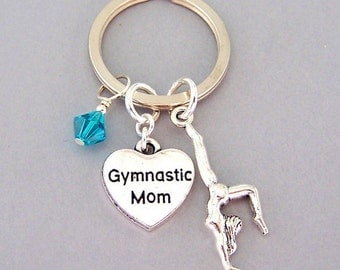 Gymnastics Mom keyring, personalized gymnastics Mom key ring, Mom birthstone keychain, gift for gymnastics mom, gymnast mom gift, handstand