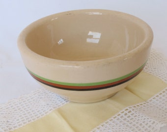Desert Tan Bowl Sterling Black Tan Green Stripes Vintage Restaurant Ware Soup Cereal Thick Heavy Pottery Dishes Hotel Cafe Railroad Diner