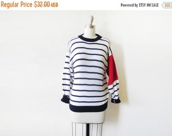 5O% OFF SALE vintage nautical sweater, 80s navy and white striped sweater, medium large sweater