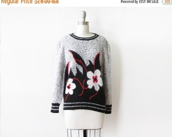 50% OFF SALE vintage floral sweater, 80s flower print sweater, large pullover knit sweater
