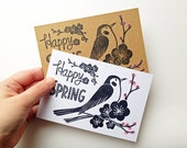 happy spring greeting card. bird and ume blossom tree hand printed holiday note card. japanese woodland illustration. choose option