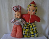 HOLD FOR COTTONTAIL Bunny Rabbit Stuffed Carnival Prizes/Red Hood Pixie Rag Doll/Vintage 1950s/Easter Halloween Prop