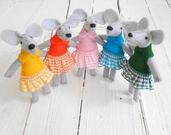 Gingham skirts for mice felted mouse in a box lace rainbow tiny felt animal travel buddies tiny friends