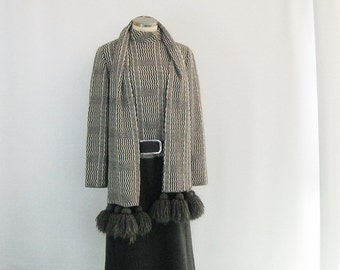 60's Vintage Dress & Tasseled Scarf Set, Gray + Plaid Wool Knit, Belted Drop Waist, Designer Shannon Rodgers For Jerry Silverman, Bust 38