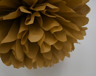 OCHRE / 1 tissue paper pom pom / diy / wedding decorations / baby shower decor / brown decorations / ochre brown / fall autumn decor