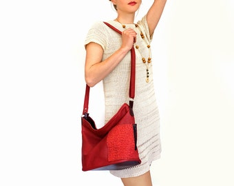 "handmade red leather bag – lined leather tote - zipper red bag with pockets - genuine leather crossbody bag - purse with pockets - ""ROSANNA"""