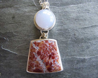 Necklace of Vanquilla Agate and High Domed Blue Chalcedony in Sterling Silver