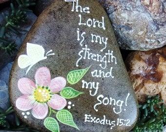 Hand Painted Idaho Rock-Inspirational-Daisy-Butterfly-Scripture-Acrylic-Original