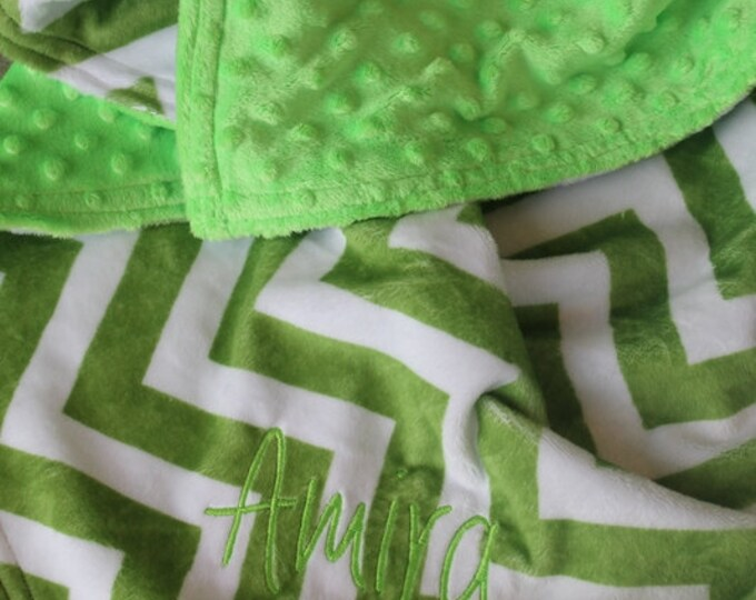 Personalized, Embroidered, Minky, Chevron, Crib, Nursing, Baby, Cuddle, Soft and Comfy 30x36 Baby/Toddler Blanket, Jade Chevron/Lime Green