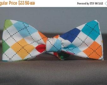 Technicolored Argyle  Bow Tie